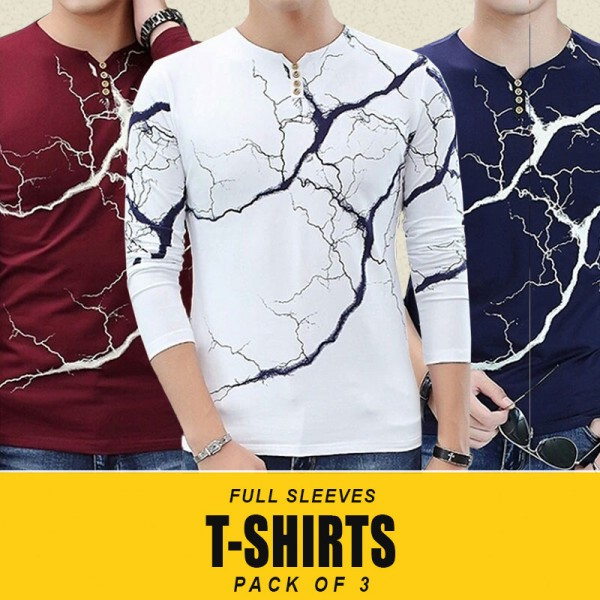 Pack Of 3 Lightning Style Long Sleeves T-Shirts MH-510